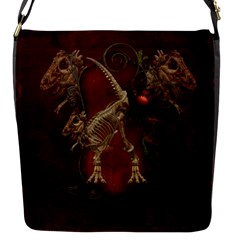Awesome T Rex Skeleton, Vintage Background Flap Messenger Bag (s) by FantasyWorld7
