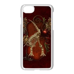 Awesome T Rex Skeleton, Vintage Background Apple Iphone 7 Seamless Case (white) by FantasyWorld7