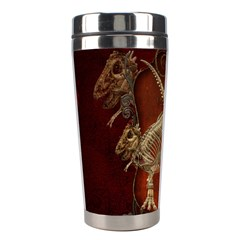 Awesome T Rex Skeleton, Vintage Background Stainless Steel Travel Tumblers by FantasyWorld7