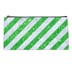 Stripes3 White Marble & Green Glitter (r) Pencil Cases