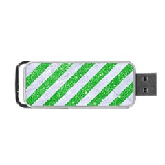 Stripes3 White Marble & Green Glitter (r) Portable Usb Flash (one Side) by trendistuff