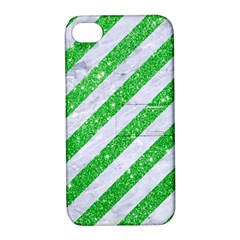Stripes3 White Marble & Green Glitter (r) Apple Iphone 4/4s Hardshell Case With Stand by trendistuff