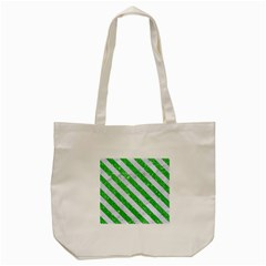 Stripes3 White Marble & Green Glitter Tote Bag (cream) by trendistuff