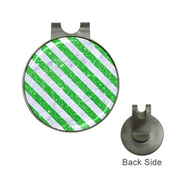 Stripes3 White Marble & Green Glitter Hat Clips With Golf Markers by trendistuff