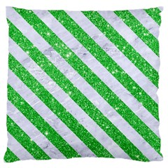 Stripes3 White Marble & Green Glitter Large Flano Cushion Case (one Side) by trendistuff