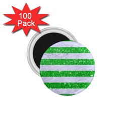 Stripes2 White Marble & Green Glitter 1 75  Magnets (100 Pack)  by trendistuff
