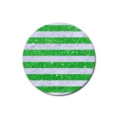 Stripes2 White Marble & Green Glitter Rubber Round Coaster (4 Pack)  by trendistuff