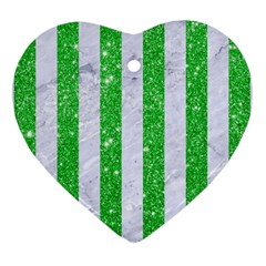 Stripes1 White Marble & Green Glitter Heart Ornament (two Sides) by trendistuff