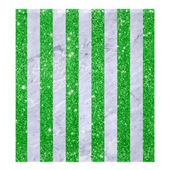 Stripes1 White Marble & Green Glitter Shower Curtain 66  X 72  (large)  by trendistuff