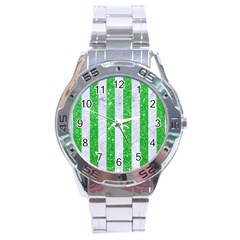 Stripes1 White Marble & Green Glitter Stainless Steel Analogue Watch by trendistuff