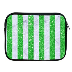 Stripes1 White Marble & Green Glitter Apple Ipad 2/3/4 Zipper Cases by trendistuff