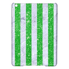 Stripes1 White Marble & Green Glitter Ipad Air Hardshell Cases by trendistuff