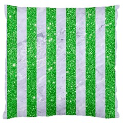 Stripes1 White Marble & Green Glitter Large Flano Cushion Case (two Sides) by trendistuff