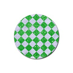 Square2 White Marble & Green Glitter Rubber Coaster (round)  by trendistuff
