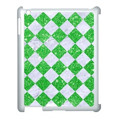 Square2 White Marble & Green Glitter Apple Ipad 3/4 Case (white) by trendistuff