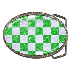 Square1 White Marble & Green Glitter Belt Buckles by trendistuff