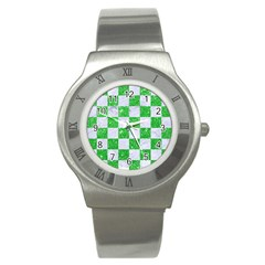 Square1 White Marble & Green Glitter Stainless Steel Watch by trendistuff