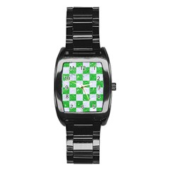 Square1 White Marble & Green Glitter Stainless Steel Barrel Watch by trendistuff
