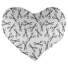 Scissors Pattern Large 19  Premium Flano Heart Shape Cushions by Valentinaart