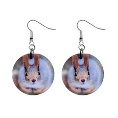 Squirrel Looks At You Mini Button Earrings by FunnyCow