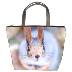 Squirrel Looks At You Bucket Bags by FunnyCow