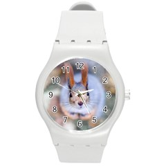 Squirrel Looks At You Round Plastic Sport Watch (m) by FunnyCow