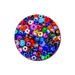 Colorful Beads Rubber Coaster (round)  by FunnyCow