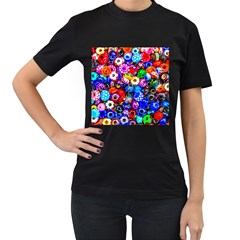 Colorful Beads Women s T Shirt (black) (two Sided)