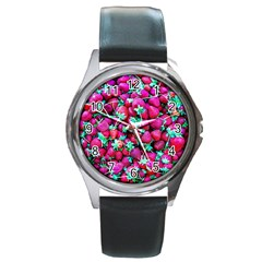 Pile Of Red Strawberries Round Metal Watch by FunnyCow