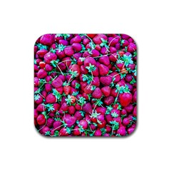 Pile Of Red Strawberries Rubber Coaster (square)  by FunnyCow