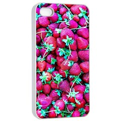 Pile Of Red Strawberries Apple Iphone 4/4s Seamless Case (white) by FunnyCow