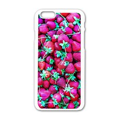 Pile Of Red Strawberries Apple Iphone 6/6s White Enamel Case by FunnyCow