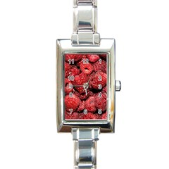 Red Raspberries Rectangle Italian Charm Watch by FunnyCow