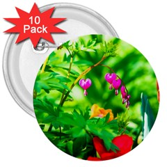 Bleeding Heart Flowers In Spring 3  Buttons (10 Pack)  by FunnyCow