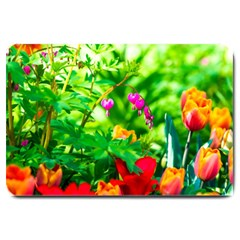 Bleeding Heart Flowers In Spring Large Doormat  by FunnyCow