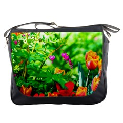 Bleeding Heart Flowers In Spring Messenger Bags by FunnyCow