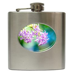 Beautiful Pink Lilac Flowers Hip Flask (6 Oz) by FunnyCow