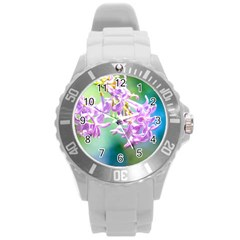 Beautiful Pink Lilac Flowers Round Plastic Sport Watch (l) by FunnyCow