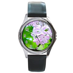 Elegant Pink Lilacs In Spring Round Metal Watch by FunnyCow
