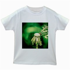 Dandelion Flower Green Chief Kids White T Shirts by FunnyCow