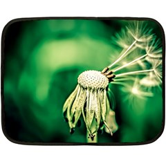 Dandelion Flower Green Chief Double Sided Fleece Blanket (mini)  by FunnyCow