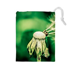 Dandelion Flower Green Chief Drawstring Pouches (large)  by FunnyCow