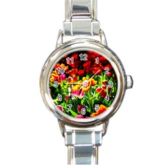 Colorful Tulips On A Sunny Day Round Italian Charm Watch by FunnyCow