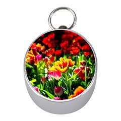 Colorful Tulips On A Sunny Day Mini Silver Compasses by FunnyCow