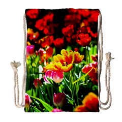 Colorful Tulips On A Sunny Day Drawstring Bag (large) by FunnyCow
