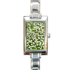 Green Field Of White Daisy Flowers Rectangle Italian Charm Watch by FunnyCow