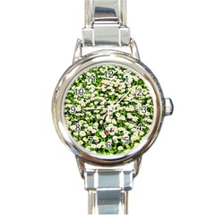 Green Field Of White Daisy Flowers Round Italian Charm Watch by FunnyCow
