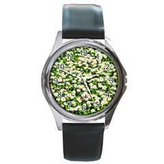 Green Field Of White Daisy Flowers Round Metal Watch by FunnyCow