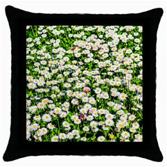 Green Field Of White Daisy Flowers Throw Pillow Case (black) by FunnyCow