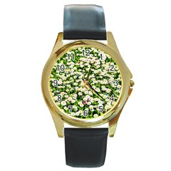 Green Field Of White Daisy Flowers Round Gold Metal Watch by FunnyCow